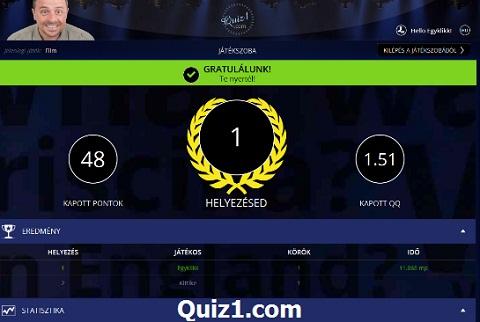 Regisztrálj ingyen, a www.Quiz1.com kvíz bajnokságaira!